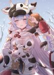 1girl absurdres animal animal_print blue_hair breasts commentary_request cow cow_hood cow_print detached_sleeves draph eyebrows_visible_through_hair granblue_fantasy highres holding holding_animal large_breasts long_hair multicolored_hair pink_eyes pink_hair shatola_(granblue_fantasy) sheer_clothes smile snow solo takanishi_takashi thick_eyebrows
