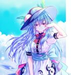 1girl arm_up black_headwear blue_bow blue_hair blue_sash blue_skirt blush bow bowtie breasts buttons clouds cowboy_shot day eyebrows_visible_through_hair food frills fruit hair_between_eyes hand_on_own_cheek hand_on_own_face here_(hr_rz_ggg) highres hinanawi_tenshi long_hair looking_at_viewer parted_lips peach puffy_short_sleeves puffy_sleeves red_bow red_eyes red_neckwear sash shirt short_sleeves skirt sky small_breasts smile solo sparkle standing touhou very_long_hair white_shirt