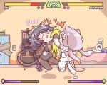 1boy 2girls absurdly_long_hair animal_ears bed black_hair blush_stickers bound bound_wrists braid breasts bulga cat_ears cat_girl cat_tail character_name chibi combo_counter commander_(last_origin) cs_perrault english_text faceless faceless_male fake_screenshot fang fighting fighting_game gag health_bar improvised_gag in_the_face last_origin long_hair maid_headdress mole mole_on_breast mole_under_mouth multiple_braids multiple_girls necktie open_mouth poi_(last_origin) punching silver_hair special_moves sweatdrop tail tape tape_gag tearing_up twintails uppercut very_long_hair video_game