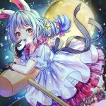 1girl :d animal_ears arm_rest bangs black_gloves bloomers blue_dress blue_hair blurry blush bokeh collarbone crescent_print depth_of_field dress eyebrows_visible_through_hair feet_out_of_frame full_moon gloves hair_ribbon here_(hr_rz_ggg) highres kine layered_dress long_hair looking_at_viewer mallet mochi moon open_mouth purple_ribbon rabbit_ears red_eyes revision ribbon seiran_(touhou) smile solo sparkle star_(symbol) star_print striped striped_ribbon touhou underwear upper_teeth wide_sleeves