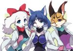 3girls :3 animal_ears aqua_eyes bangs belt blue_bodysuit blue_eyes blue_hair blue_pants blue_shirt bodysuit bow cat_ears cat_girl circlet cleavage_cutout clenched_hand clothing_cutout collarbone commentary_request crystal dog_ears dog_girl dog_tail eyebrows_visible_through_hair fay_spaniel fox_ears fox_girl furry gloves hair_bow hair_tubes hand_on_another's_shoulder hands_up happy high_collar jacket jewelry krystal leaning_forward locked_arms long_sleeves looking_at_viewer miyu_lynx multicolored_shirt multiple_girls namagaki_yukina one_eye_closed open_clothes open_jacket open_mouth pants pink_gloves purple_shirt red_bow sapphire_(gemstone) shiny shiny_hair shirt short_hair simple_background single_earring smile standing star_fox tail two-tone_background upper_body white_background white_jacket