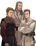 3boys absurdres anakin_skywalker beard belt blue_eyes braid brown_hair brown_robe brown_sash closed_mouth commentary crossed_arms energy_sword english_commentary eye_contact facial_hair frown grey_eyes grey_hair grey_robe highres lightsaber lips long_hair looking_at_another looking_at_viewer male_focus mole mole_under_eye multiple_boys mustache obi-wan_kenobi parted_lips qui-gon_jinn robe sash short_hair simple_background single_braid sketch smile standing star_wars sword thisuserisalive time_paradox weapon what_if white_background white_robe younger