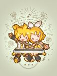 1boy 1girl :3 anniversary antennae arm_up arm_warmers bangs bass_clef birthday_cake black_collar black_shorts black_sleeves blonde_hair bouquet bow cake chibi collar commentary confetti eighth_note emphasis_lines flower food hair_bow hair_ornament hairclip instrument kagamine_len kagamine_rin keyboard_(instrument) leg_warmers looking_at_viewer music musical_note neckerchief necktie open_mouth outstretched_arm party_popper playing_instrument pylori_kin_no_uta_(vocaloid) sailor_collar sangatsu_youka school_uniform shirt short_hair short_ponytail short_shorts short_sleeves shorts sleeveless sleeveless_shirt smile solid_oval_eyes spiky_hair string_of_flags swept_bangs treble_clef vocaloid white_bow white_shirt yellow_neckwear