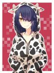 1girl alternate_costume animal_print blush breasts brown_eyes chinese_zodiac closed_mouth collarbone cow_print eyebrows_visible_through_hair eyepatch hair_over_one_eye hands_in_pockets hood hoodie kantai_collection kotobuki_(momoko_factory) large_breasts looking_at_viewer messy_hair purple_hair red_background short_hair smile solo tenryuu_(kantai_collection) twitter_username upper_body year_of_the_ox