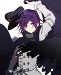 1boy arm_up bangs black_cape black_headwear cape checkered checkered_scarf commentary_request danganronpa_(series) danganronpa_v3:_killing_harmony double-breasted floating_cape grey_jacket grin hair_between_eyes hat hat_removed headwear_removed highres holding holding_cape jacket kitsunebi_v3kokonn long_sleeves looking_at_viewer male_focus ouma_kokichi peaked_cap purple_hair scarf short_hair smile solo teeth torn_cape torn_clothes upper_body violet_eyes white_background