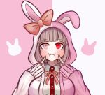 1girl alternate_costume alternate_eye_color animal_ears animal_hood animal_print bangs blunt_bangs blush bow breasts brown_bow bunny_hood bunny_print closed_mouth collared_shirt cosplay danganronpa_(series) danganronpa_2:_goodbye_despair eyebrows_visible_through_hair facing_viewer fake_animal_ears fingers_to_cheeks hands_up hood hood_up index_finger_raised jacket komatsuzaki_rui_(style) ktokei_(kurokku-tokei) large_breasts light_brown_hair long_sleeves looking_at_viewer medium_hair monomi_(danganronpa) monomi_(danganronpa)_(cosplay) nanami_chiaki neck_ribbon official_style pink_background pink_jacket red_eyes red_ribbon red_shirt ribbon shirt simple_background solo tagme two-tone_shirt upper_body white_background white_shirt