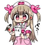 >_< 1girl :p apron armband bangs brown_hair bunny_hair_ornament closed_mouth collared_shirt eyebrows_visible_through_hair hair_between_eyes hair_ornament hat heart holding holding_pencil kanikama long_hair lowres natori_sana nurse nurse_cap pencil pink_apron pink_headwear puffy_short_sleeves puffy_sleeves red_eyes sana_channel shirt short_sleeves simple_background smile solo sweat tongue tongue_out translation_request two_side_up v-shaped_eyebrows very_long_hair virtual_youtuber white_background white_shirt