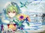 1girl bangs character_name cherry_blossoms floating_hair flower frilled_neckwear fur_trim hair_between_eyes here_(hr_rz_ggg) highres holding holding_flower kazami_yuuka lace looking_at_viewer parted_lips red_eyes scenery short_hair snow snow_on_head solo sunflower touhou tree_branch upper_body wind winter winter_clothes