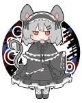 amakaeru animal_ears bandages gem gothic_lolita grey_hair highres lolita_fashion nazrin red_eyes smile tail touhou white_background