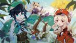 1boy 2girls ahoge backpack bag bag_charm ball bangs bare_shoulders black_hair blonde_hair blue_hair blurry blurry_background blurry_foreground bow braid breasts cabbie_hat cape charm_(object) clouds cloudy_sky detached_sleeves dress eyebrows_visible_through_hair eyepatch fischl_(genshin_impact) flower frilled_sleeves frills gem genshin_impact gloves gradient_hair green_eyes green_headwear hair_between_eyes hair_flower hair_ornament hair_over_one_eye hair_ribbon hand_up hat highres holding holding_ball holding_instrument instrument klee_(genshin_impact) leaf long_hair long_sleeves looking_at_viewer low_twintails lyre male_focus medium_breasts multicolored_hair multiple_girls one_eye_covered open_mouth otoko_no_ko pointy_ears red_eyes red_headwear ribbon seigaaaa simple_background sky small_breasts smile twin_braids twintails two_side_up venti_(genshin_impact) white_flower
