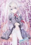 colored_pencil_(medium) darkkanan graphite_(medium) highres original soles thigh-highs traditional_media watercolor_(medium) white_legwear