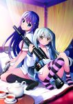2girls asymmetrical_legwear bangs black_legwear blue_eyes braid cup earrings eyebrows_visible_through_hair french_braid fukami_rena grisaia_(series) grisaia_phantom_trigger gun handgun highres holding holding_gun holding_weapon jewelry kneehighs long_hair long_sleeves looking_at_viewer multiple_girls no_pants official_art on_bed open_clothes open_shirt panties pink_panties pistol purple_hair ribbon scope shishigaya_touka short_sleeves silver_hair sitting striped striped_panties stud_earrings table tea teacup teapot two_side_up underwear watanabe_akio weapon yellow_eyes