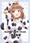 1girl 2021 :d ahoge animal_ears animal_print bangs bell bell_choker black_choker blush breasts brown_hair chinese_zodiac choker collarbone commentary_request cow_ears cow_horns cow_print cow_tail drawstring eyebrows_visible_through_hair fake_animal_ears fake_horns hands_up happy_new_year hood hood_up hoodie horns long_sleeves looking_at_viewer massala new_year open_mouth original pennant print_hoodie puffy_long_sleeves puffy_sleeves sleeves_past_wrists small_breasts smile solo string_of_flags tail upper_body violet_eyes white_hoodie year_of_the_ox