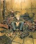 1990s_(style) 1boy blonde_hair goggles goggles_removed ground_vehicle highres key motor_vehicle motorcycle r20 sadamoto_yoshiyuki shoes short_hair sitting smile solo sweater tools traditional_media