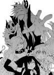 2boys 3girls :< :d absurdres black_horns breasts byakuren_(mazohana) cigarette clenched_hand demon_boy demon_girl demon_horns duplicate fang fang_out fangs greyscale highres horns juugoya_(zyugoya) kewpie_(mazohaha) kokuren_(mazohana) mask medium_breasts monochrome multiple_boys multiple_girls musuko_ga_kawaikute_shikatanai_mazoku_no_hahaoya open_mouth outstretched_hand sharp_teeth simple_background skull skull_mask smile teeth white_background