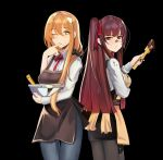 2girls apron chocolate cooking cream eyebrows_visible_through_hair food food_on_face girls_frontline green_eyes m1903_springfield_(girls_frontline) multiple_girls one_eye_closed orange_hair purple_hair red_eyes wa2000_(girls_frontline) xzzcz01