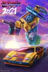 absurdres alternate_color artist_name autobot blue_eyes car chinese_zodiac clenched_hand ground_vehicle gun happy_new_year highres holding holding_gun holding_weapon lamborghini lamborghini_countach mecha motor_vehicle new_year no_humans open_mouth running science_fiction shoulder_cannon sideswipe transformers weapon yasukuni_kazumasa year_of_the_ox