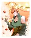 1boy christmas christmas_ornaments closed_mouth fate/extra fate/grand_order fate_(series) green_shirt male_focus orange_hair red_eyes robin_hood_(fate) shirt short_hair