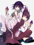 2boys back-to-back bangs beard black_footwear checkered checkered_neckwear checkered_scarf danganronpa_(series) danganronpa_v3:_killing_harmony double-breasted facial_hair food goatee hand_up hands_up highres holding ice_cream ice_cream_cone indian_style jacket jacket_on_shoulders kitsunebi_v3kokonn knees_up long_sleeves looking_at_another looking_at_viewer male_focus momota_kaito multiple_boys open_mouth ouma_kokichi pants pink_hair pink_jacket pink_pants profile purple_hair scarf shirt shoes short_hair sideways_glance simple_background sitting smile space_print spiky_hair starry_sky_print straitjacket tongue tongue_out violet_eyes white_background white_jacket white_pants white_shirt