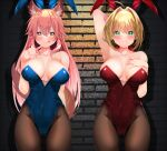2girls absurdres ahoge animal_ears arm_up blonde_hair breasts fate/extra fate_(series) fishnet_legwear fishnets fox_ears fox_tail green_eyes highres large_breasts licking_lips long_hair multiple_girls nero_claudius_(fate) nero_claudius_(fate)_(all) pantyhose pink_hair playboy_bunny rabbit_ears sabi_(rupf2384) smile tail tamamo_(fate)_(all) tamamo_no_mae_(fate) tongue tongue_out yellow_eyes