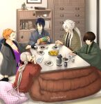 5boys ^_^ black_gloves black_hair book bottle bridal_gauntlets brown_hair chest_of_drawers closed_eyes cup drinking food gloves highres ima-no-tsurugi ishikirimaru iwatooshi japanese_clothes kogitsunemaru kotatsu male_focus mikazuki_munechika multiple_boys orange_hair pillow plate ponytail pouring red_eyes sitting smile sunomata table tea teacup teapot touken_ranbu twitter_username wagashi white_hair youkan_(food)