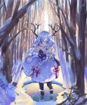 1girl absurdres antlers black_legwear black_mittens coat earmuffs forest full_body fur_trim grey_eyes hands_together highres long_hair mittens nature original outdoors pantyhose pixerite scarf silver_hair smile snow snowing snowman solo tree white_coat white_scarf