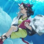 1girl air_bubble animal_ears black_hair blue_background breasts bubble commentary_request cow_ears feet_out_of_frame haori horns japanese_clothes kaigen_1025 medium_breasts multicolored_hair red_eyes red_footwear red_horns sandals sea_monster shirt short_hair shorts solo touhou two-tone_hair underwater ushizaki_urumi white_hair wide_sleeves yellow_shirt yellow_shorts