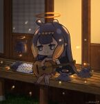 1girl :3 =_= backlighting black_eyes black_hair blush bright_pupils chibi detached_sleeves english_commentary guitar halo highres hololive hololive_english instrument music ninomae_ina'nis open_mouth playing_instrument pointy_ears shiina_rei single_detached_sleeve single_thighhigh sitting sleeping smile solo_focus tako_(ninomae_ina'nis) thigh-highs virtual_youtuber white_pupils