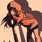 1girl anchor black_shorts brown_bag brown_eyes brown_hair cowboy_shot from_side guilty_gear guilty_gear_strive huge_weapon jacket large_hat leaning_forward leaning_on_object long_hair looking_at_viewer may_(guilty_gear) moshimoshibe nose open_mouth orange_headwear orange_jacket shorts silhouette skull_and_crossbones solo weapon