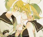 1boy 1girl arm_warmers bangs bare_shoulders black_collar black_sleeves blonde_hair blue_eyes bow closed_eyes collar commentary forehead-to-forehead hair_bow hair_ornament hairclip half-closed_eyes hand_on_another's_face headphones heart holding_hand kagamine_len kagamine_rin looking_at_viewer maca1227 necktie sailor_collar school_uniform shirt short_hair short_sleeves sleeveless sleeveless_shirt smile swept_bangs upper_body vocaloid white_bow white_shirt yellow_neckwear