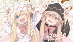 2021 2girls ;d annoyed arms_up black_capelet black_dress black_headwear blonde_hair blue_eyes blush bow bowtie brown_eyes capelet commentary_request dress dual_persona fairy fairy_wings finger_horns half-closed_eyes happy_new_year hat highres horns_pose index_fingers_raised light_brown_hair lily_black lily_white long_hair long_sleeves looking_at_viewer multiple_girls new_year nose_blush one_eye_closed open_mouth red_bow red_neckwear smile touhou transparent_wings very_long_hair wavy_mouth white_capelet white_headwear wide_sleeves wings yutamaro