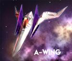 arwing blue_outline commentary_request english_text highres logo namagaki_yukina no_humans outline purple_background purple_theme sky space space_craft star_(sky) star_fox starry_sky vehicle_focus
