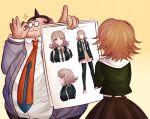 2boys :3 adjusting_eyewear bangs black_jacket black_legwear blunt_bangs breasts brown_eyes brown_hair brown_skirt character_print character_sheet collared_shirt commentary danganronpa:_trigger_happy_havoc danganronpa_(series) dress_shirt english_commentary eyebrows_visible_through_hair fat fat_man flipped_hair from_behind fujisaki_chihiro glasses gradient gradient_background green_shirt grey_jacket hair_ornament hairclip holding holding_paper hood hood_down hooded_jacket jacket ktokei_(kurokku-tokei) large_breasts long_sleeves miniskirt multiple_boys nanami_chiaki neck_ribbon necktie orange_neckwear paper parody pink_ribbon pleated_skirt ribbon round_eyewear shirt short_hair skirt smile sparkle spoilers standing thigh-highs white_shirt yamada_hifumi zettai_ryouiki