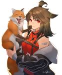 1girl absurdres animal animal_ears arknights bandaid bandaid_on_arm bangs bare_shoulders black_jacket breasts brown_hair chest_harness closed_eyes cutter_(arknights) fox hair_ornament harness highres holding holding_animal jacket jewelry medium_breasts medium_hair necklace off_shoulder open_clothes open_mouth red_eyes red_shirt shirt signature simple_background sleeveless sleeveless_shirt tied_hair topknot upper_body white_background wingure x_hair_ornament