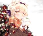 1girl :o bangs black_bow black_hairband blonde_hair blush bow braid breath brown_jacket brown_scarf commentary_request eyebrows_visible_through_hair flower hair_between_eyes hairband hands_up holding jacket long_hair long_sleeves looking_at_viewer mittens original parted_lips plaid plaid_scarf red_flower scarf snow snow_bunny solo suzuhara_(13yuuno) upper_body white_mittens wing_hair_ornament yellow_eyes