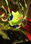 commentary_request copyright_name from_below gen_8_pokemon legendary_pokemon no_humans otsumami_(bu-bu-heaven) pink_eyes poke_ball_symbol pokemon pokemon_(creature) regieleki shiny solo