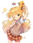 ;q beige_sweater_vest blonde_hair cellphone charm_(object) closed_mouth eyebrows_visible_through_hair green_eyes highres holding holding_phone idolmaster idolmaster_cinderella_girls idolmaster_cinderella_girls_starlight_stage jougasaki_rika one_eye_closed orange_skirt phone plaid plaid_skirt red_ribbon ribbon school_uniform shirt short_sleeves short_twintails skirt smile star_(symbol) sweater_vest taemin taking_picture tongue tongue_out twintails white_background white_shirt