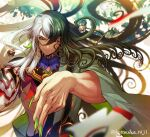 1boy ashiya_douman_(fate) asymmetrical_clothes asymmetrical_hair bell black_eyes black_hair blurry blurry_background blurry_foreground curly_hair earrings fate/grand_order fate_(series) fingernails floating floating_hair floating_object green_eyeshadow green_kimono green_lipstick green_nails hair_bell hair_between_eyes hair_intakes hair_ornament hand_gesture highres hotaruika_niji japanese_clothes jewelry kimono lipstick long_hair looking_at_viewer magatama magatama_earrings makeup male_focus multicolored_hair open_clothes open_kimono ribbed_sleeves sharp_fingernails shikigami smile solo toned toned_male two-tone_hair upper_body very_long_fingernails very_long_hair white_hair