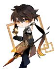 1boy absurdres bangs black_gloves black_hair blush brown_hair chibi closed_mouth earrings floating floating_object formal genshin_impact gloves hair_between_eyes highres hmkang07 holding holding_weapon jacket jewelry long_hair long_sleeves looking_at_viewer male_focus multicolored_hair polearm ponytail simple_background single_earring solo spear standing standing_on_one_leg suit tassel tassel_earrings weapon yellow_eyes zhongli_(genshin_impact)