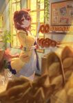 1girl :3 animal_ears bagel baguette bakery blurry blurry_foreground blush bone_hair_ornament braid bread breasts brown_hair bulletin_board cameo collar commentary cowboy_shot depth_of_field dog_ears dog_tail dress food hair_ornament holding holding_tray hololive hoso-inu inugami_korone izumi_sai jacket light_rays listener_(inugami_korone) looking_at_viewer medium_breasts medium_hair nekomata_okayu nyanpyou ookami_mio open_clothes open_jacket open_mouth picture_(object) plant potted_plant red_collar red_eyes shirakami_fubuki shop side_braids smile solo sunlight symbol_commentary tail tongs tray twin_braids virtual_youtuber white_dress window yellow_jacket
