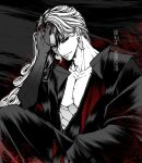 1boy alternate_hairstyle anegobeya ashiya_douman_(fate) asymmetrical_hair black_eyes black_hair curly_hair earrings fate/grand_order fate_(series) greyscale hair_intakes hand_in_hair heian japanese_clothes jewelry kimono long_hair magatama magatama_earrings male_focus monochrome multicolored_hair no_headwear official_alternate_costume onmyouji open_clothes open_kimono pectorals spot_color toned toned_male traditional_clothes two-tone_hair very_long_hair white_hair