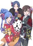+_+ 3girls :d absurdres animal_print asari_nanami bangs black_gloves black_kimono blue_eyes blue_hair brown_hair cellphone commentary_request cow_print earrings ema eyebrows_visible_through_hair flower fringe_trim fur_collar glint gloves gradient_hair green_eyes grey_eyes hair_between_eyes hair_bun hair_flower hair_ornament hayami_kanade highres holding holding_phone idolmaster idolmaster_cinderella_girls japanese_clothes jewelry kimono long_hair long_sleeves looking_at_viewer looking_back multicolored_hair multiple_girls obi object_hug open_mouth parted_bangs phone pink_flower pizzasi purple_hair purple_kimono red_flower red_kimono red_rose rose sash sharp_teeth shoe_soles simple_background sleeves_past_wrists smile standing standing_on_one_leg stud_earrings stuffed_animal stuffed_shark stuffed_toy sunazuka_akira teeth translation_request upper_teeth white_background wide_sleeves yagasuri