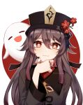 1girl :3 =_= artist_name bangs black_headwear black_nails black_shorts blush brown_hair chinese_clothes eyebrows_visible_through_hair fang film_grain flower genshin_impact ghost gradient_hair hair_between_eyes hair_ribbon hand_on_own_chin hat hat_flower highres hu_tao jewelry long_hair long_sleeves looking_at_viewer multicolored_hair red_eyes red_flower redhead ribbon ring shorts simple_background smile solo star-shaped_pupils star_(symbol) symbol-shaped_pupils tana_(tanabio) tassel twitter_username wide_sleeves