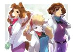 3girls :3 animal_ears animal_nose bandana belt blonde_hair blue_eyes blue_gloves blue_shirt body_fur border breasts brown_eyes brown_fur brown_hair closed_mouth commentary_request cowboy_shot dog_ears dog_girl dog_girl_(star_fox_2_prototype) dog_tail earpiece eyebrows_visible_through_hair finger_to_mouth from_side furry gloves green_background green_gloves hair_intakes half-closed_eye hand_up hands_together happy high_collar index_finger_raised jacket jpeg_artifacts long_hair long_sleeves looking_at_viewer medium_breasts mixed-language_commentary multicolored_hair multicolored_shirt multiple_girls namagaki_yukina one_eye_closed open_clothes open_jacket outline outside_border pants parted_lips pink_pants prototype purple_shirt sheep_ears sheep_girl sheep_girl_(star_fox_2_prototype) shiny shiny_hair shirt short-haired_woman_(star_fox_2_prototype) short_hair shushing simple_background smile snout standing star_fox tail teeth thick_thighs thighs two-tone_fur two-tone_hair upper_body violet_eyes white_border white_fur white_hair white_jacket white_outline