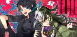 2boys androgynous arm_grab ashiya_douman_(fate) asymmetrical_clothes asymmetrical_hair bell bishounen black_eyes black_hair blue_eyes command_spell curly_hair earrings fate/grand_order fate_(series) fingernails fujimaru_ritsuka_(male) green_eyeshadow green_kimono green_lipstick green_nails hair_bell hair_between_eyes hair_intakes hair_ornament japanese_clothes jewelry kimono kyouka_(exclamationmark) leaning_on_person lipstick long_hair looking_at_viewer magatama magatama_earrings makeup male_focus multicolored_hair multiple_boys open_clothes open_kimono ribbed_sleeves sharp_fingernails smile two-tone_hair upper_body very_long_fingernails very_long_hair white_hair