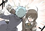 2girls =_= ahoge angela_(lobotomy_corporation) aqua_hair blue_coat brooch brown_coat brown_hair buttons clenched_hands coat collared_shirt commentary_request hair_ornament hairclip hod_(lobotomy_corporation) jewelry kan_(aaaaari35) lariat library_of_ruina long_sleeves motion_lines multiple_girls neck_ribbon open_mouth ribbon shaded_face shirt short_hair v-shaped_eyebrows white_shirt