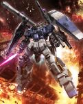 arm_cannon beam_saber bull-g clenched_hand explosion floating gundam gundam_thunderbolt highres holding holding_sword holding_weapon looking_up mecha no_humans shield solo sword v-fin weapon yellow_eyes zb