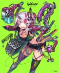 1girl :d asymmetrical_eyes breasts cable candy colored_inner_hair commentary_request cup cyborg drinking_straw extra_arms food gia grey_background headphones highres knife lollipop looking_at_viewer midriff multicolored_hair open_mouth original pink_hair piston prosthesis prosthetic_arm prosthetic_leg saw short_shorts shorts signature small_breasts smile solo streaked_hair thigh-highs w white_hair