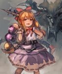 1girl :d blonde_hair blush bow bow_(bhp) bowtie chain crossover cuffs drooling drunk gourd hair_bow hand_on_hip horn_bow horns ibuki_suika long_hair looking_at_viewer monster monster_hunter open_mouth purple_skirt rajang red_bow red_eyes red_neckwear short_sleeves skirt smile standing touhou