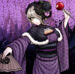 1girl alternate_costume bangs black_flower black_rose candy_apple commentary cowboy_shot danganronpa_(series) danganronpa_v3:_killing_harmony fan flower folding_fan food fur_trim hair_flower hair_ornament hair_over_one_eye highres holding japanese_clothes kimono ktokei_(kurokku-tokei) long_sleeves looking_at_viewer makeup official_style pink_ribbon ribbon rose short_hair smile solo toujou_kirumi wide_sleeves wisteria